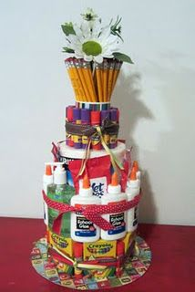 School Supply Cake! How cute is this for a gift for teacher friends and family!