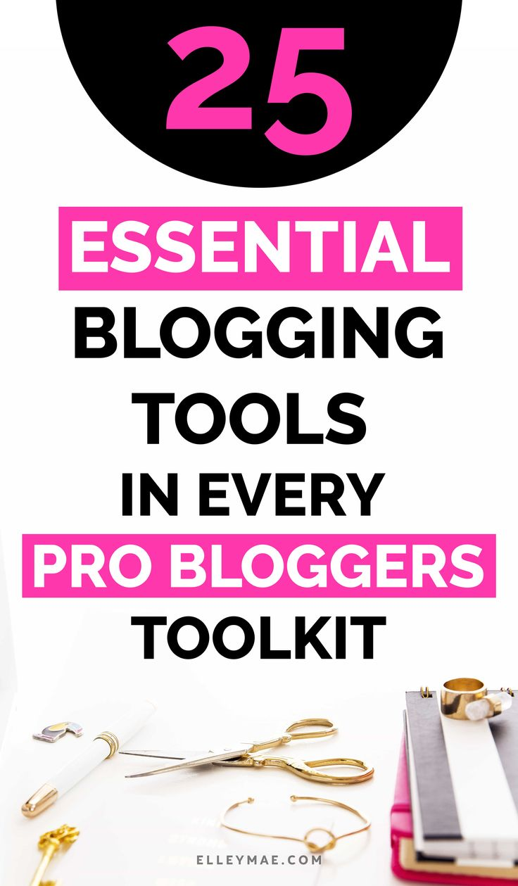 25 Essential Blogging Tools In Every Pro Bloggers Toolkit   So you want to start a blog but you're unsure what blogging tools you're actually going to need hey? Well, get instant access to the ultimate list I've put together so you don't have to waste time Googling aimelessly (like I did). Use Tailwind to put your Pinterest on autopilot, grow your following with BoardBooster, write amazing blog posts with Grammarly & so much more. This is THE ULTIMATE list for pro bloggers!   ElleyMae.com