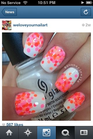 Pink and orange polka dot nails
