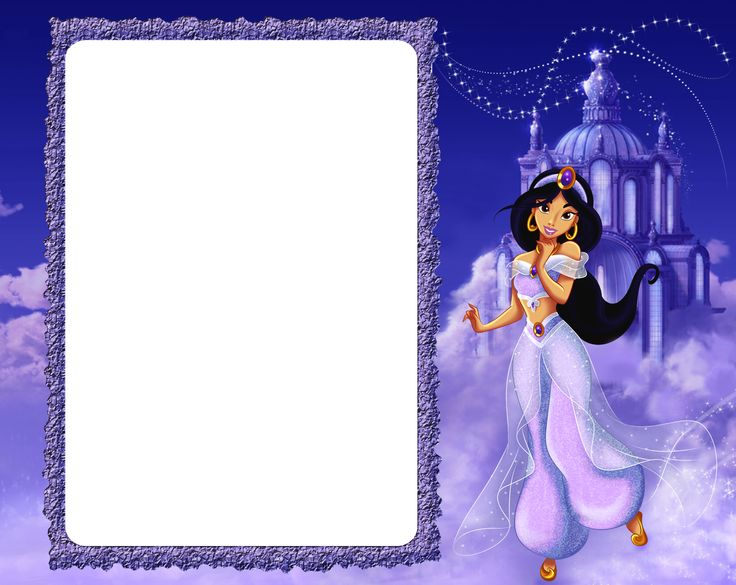 Princess Jasmine in Clouds Kids PNG Frame