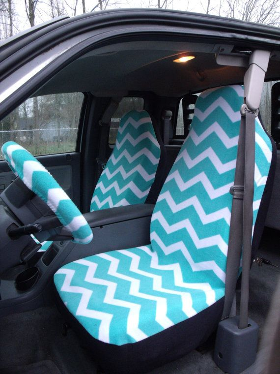 Reserve For Toni Telano 1 Set Of Turqoise And White Chevron Print Seat Covers The Steering Wheel Cover Custom Made