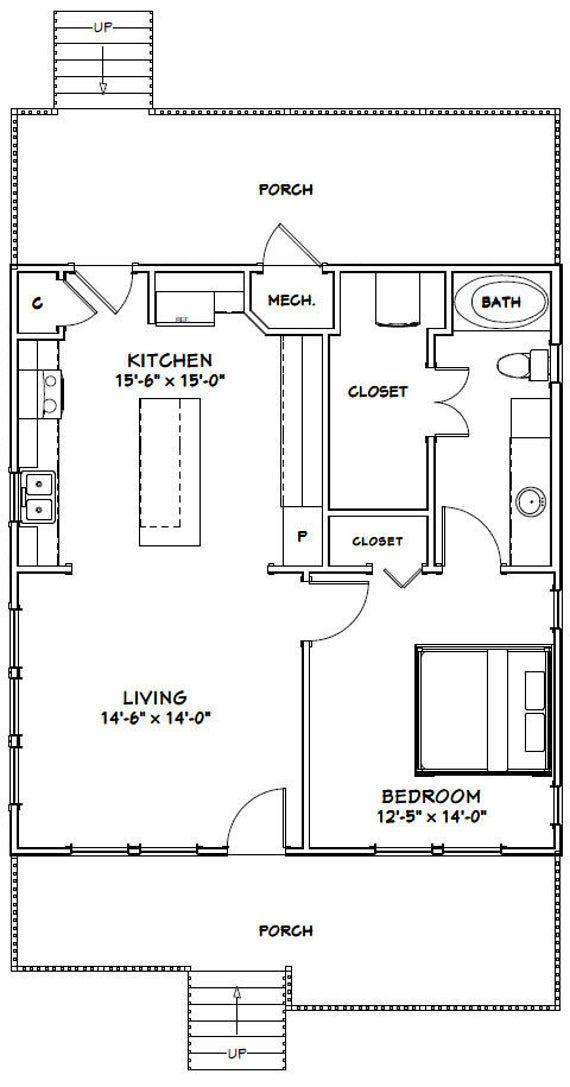 28x30 House 1 Bedroom 1 Bath 840 Sq Ft Pdf Floor Plan Etsy In 2020 House Plans Floor Plans Tiny House Floor Plans