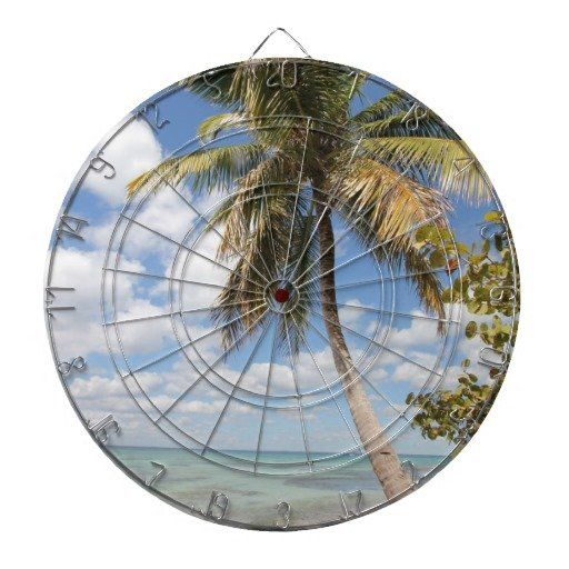 Isla Saona - Palm Tree at the Beach Dartboard With Darts #sold on #Zazzle