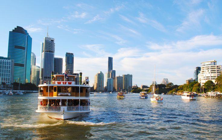 Kookaburra River Queens cruising the Brisbane River.  www.kookaburrariverqueens.com