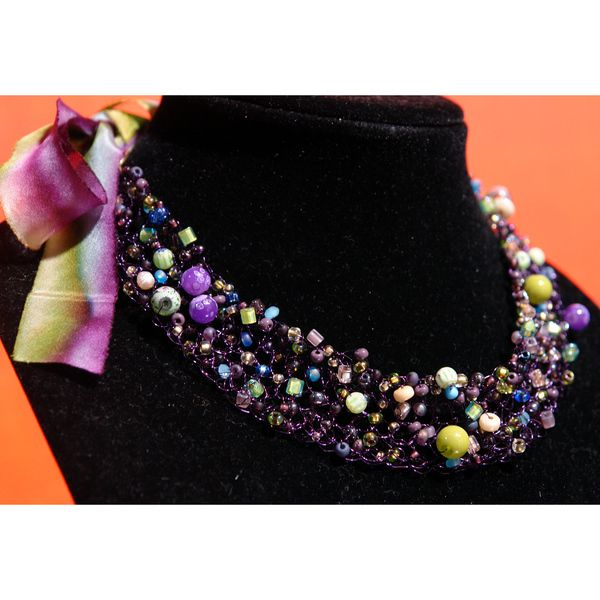 Pandora - gorgeous beaded necklace with a sexy ribbon tie back - handmade at StringTheoryDesigns.com, $139