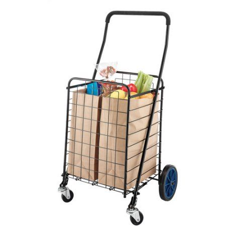 Mainstays Deluxe Rolling Shopping Cart - Walmart.com