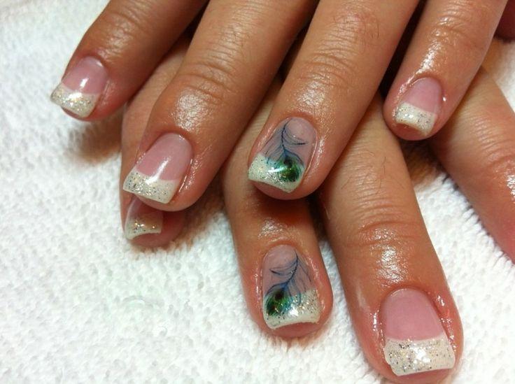French Nails Muster Pfaufeder Gellack