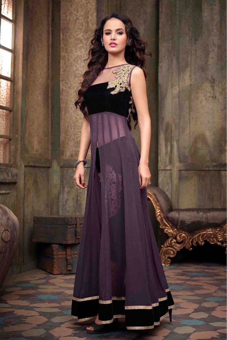 Georgette Party Wear Suit in Purple Colour.It comes with matching Duapatta and Bottom.It is crafted with Embroidery, Stone Work Design...