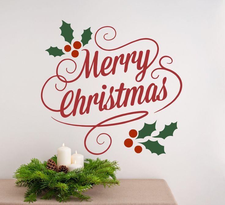 Great Christmas Decorations, Christmas Decor, Merry Christmas Wall Decal, Holly  Tree, Christmas Wall