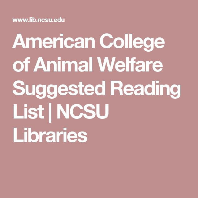 American College of Animal Welfare Suggested Reading List | NCSU Libraries