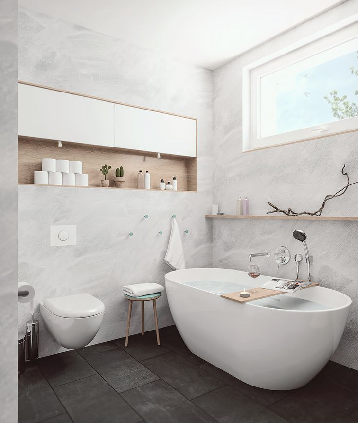 Our vision for small #minimalistic #bathroom in 2-generation family house in Prague, inpired by #scandinavian #design. #architecture #tiles #wood #concrete