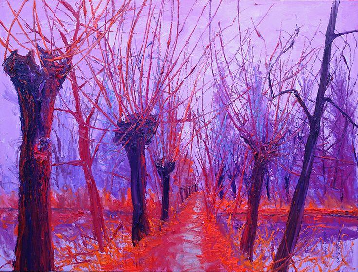 Knotwilgen oranje pad, olieverf op doek, 80 x 100 cm, Gert-Jan Scholte-Albers