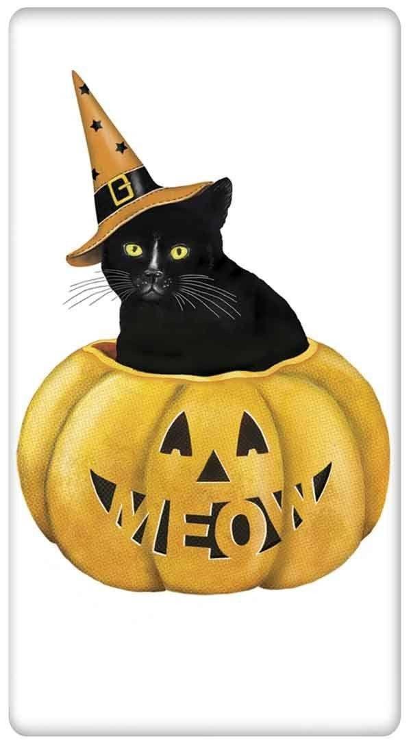Black Cat in Jack-O-Lantern Pumpkin Halloween 100% Cotton Flour Sack Dish Towel Tea Towel