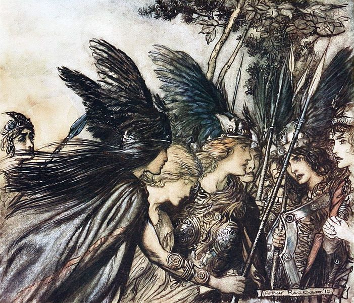 """Brünnhilde: """"I flee for the first time And am pursued: Warfather follows close ... He nears, he nears in fury! Save this woman! Sisters, your help!"""" - The Rhinegold and the Valkyrie, 1910"""