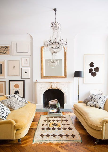 Ali Cayne's beautiful living room. Love the way she layered Madeline Weinrib pillows on her sofas. #obsessed