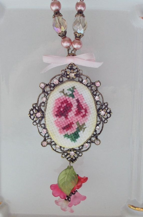 Victorian Rose NECKLACE Cross Stitch Charm by Strength4theJourney, $35.00