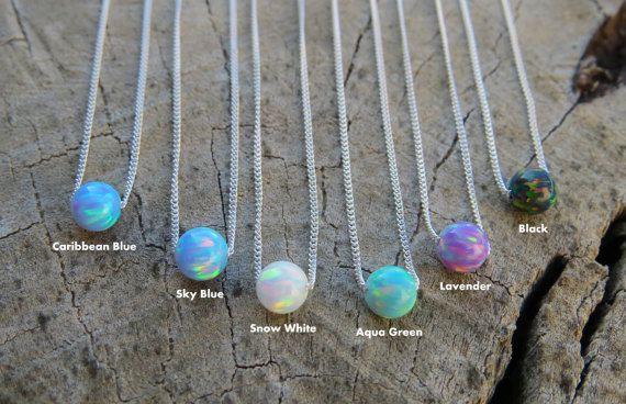 Opal-Kugel-Halskette Opal Silber Halskette blau Opal von miniLALI