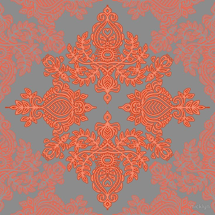 Burnt Orange Coral & Grey doodle pattern