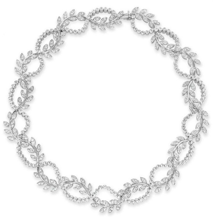 A DIAMOND NECKLACE, BY TIFFANY & CO.   Designed as an openwork wreath, the undulating vine of circular-cut diamond leaves interwoven with a row of collet-set diamonds, mounted in platinum, 15½ ins., with English hallmarks  Signed Tiffany & Co., no. 21307157