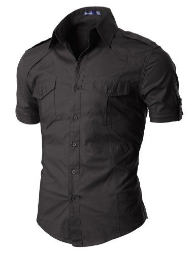 Doublju Mens Dress Shirt with Epaulet CHARCOAL (US-M) $35.99 #Doublju #Shirts #Ties