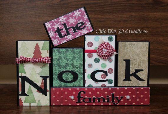 Christmas theme family name wooden block set home decor holiday d
