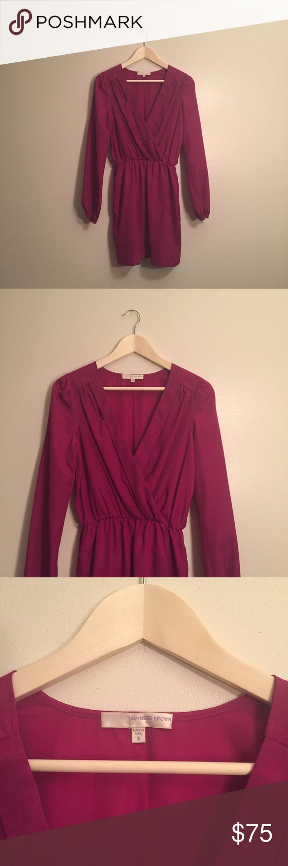 Lavender Brown fuchsia V-neck wrap dress Absolutely stunning Lavender Brown fuchsia V-neck wrap dress. In perfect condition! This beautiful dress is perfect for just about any occasion with a simple necklace and heels. Lavender Brown Dresses Long Sleeve
