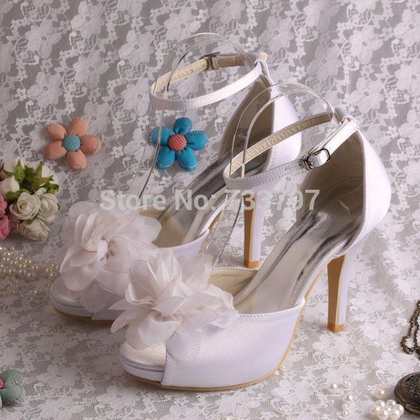 Wedopus Мода 2016 Белый Атлас Свадебные Сандалии 10 см Каблук Цветок Для Женщин Челнока