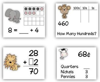 Common Core: Capture 4 2nd Grade Math Strategy Games. Includes 4 sets of cards:  Combinations to 20 (2.OA.2)  Place Value; Hundreds, Tens, and Ones (2.NBT.1)  Addition with Regrouping (2.NBT.5)  Coin Combinations (2.MD.8)    Students will love the strategy twist in this game! Once they learn to play, they use different card sets to practice 4 different skills.    Includes 6 printables. $