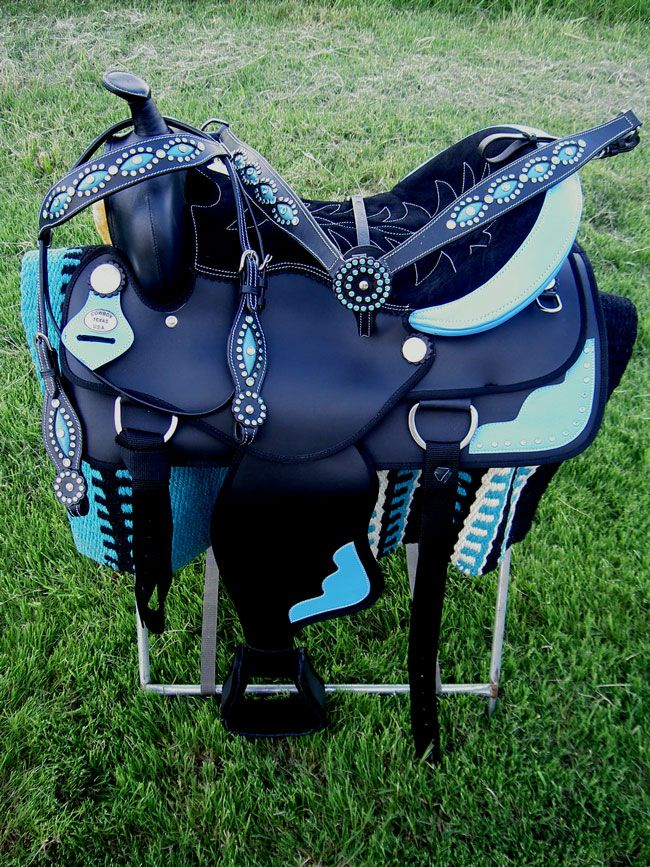 blue saddels | ... CORDURA TRAIL BARREL PLEASURE SADDLE HEADSTALL TACK BLUE COMBO DEAL