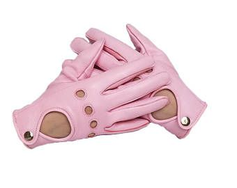 Women's Driving Leather Gloves - Pink Sheepskin Gloves for driving