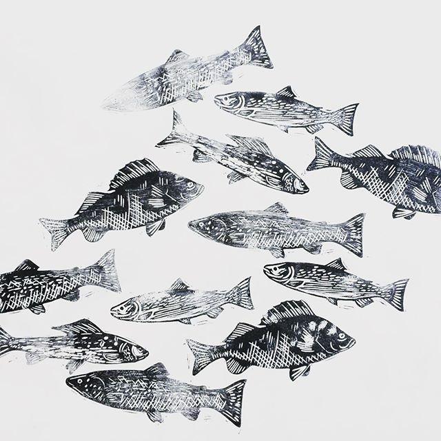Fisk #linostamp #linoprint
