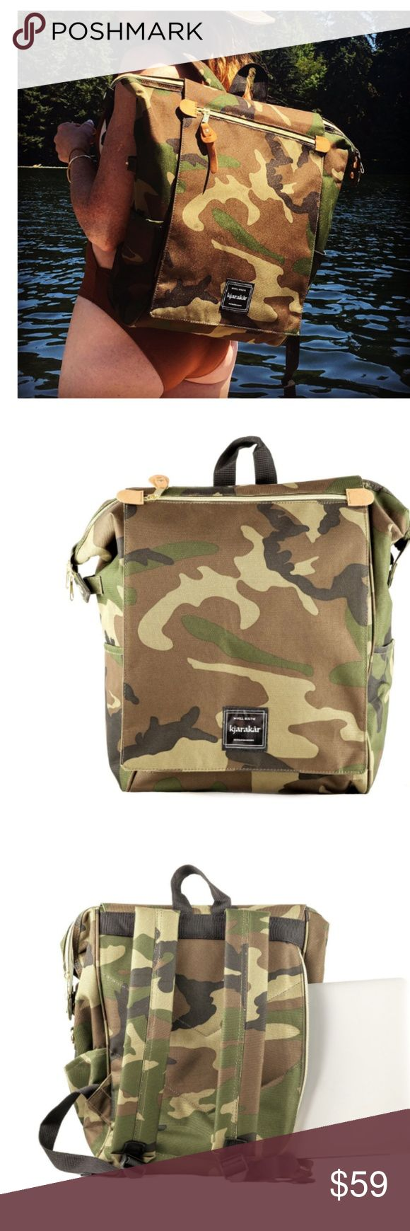 "Kjarakär Backpack for Women, Girls, Men and Boys NWT !  (CAMO )  Kjarakär Backpack for Women, Girls, Men and Boys. Best Unisex Commuter Bag, School Bookbag, Laptop Bag, Weekender, Diaper Bag. TSA Friendly | Waterproof. If you've been looking for a backpack with the perfect combo of style and function, then your search is over! Our low-profile design backpack not only will have you looking stylish and receiving compliments, but also has room for ""everything"" Bags Backpacks"