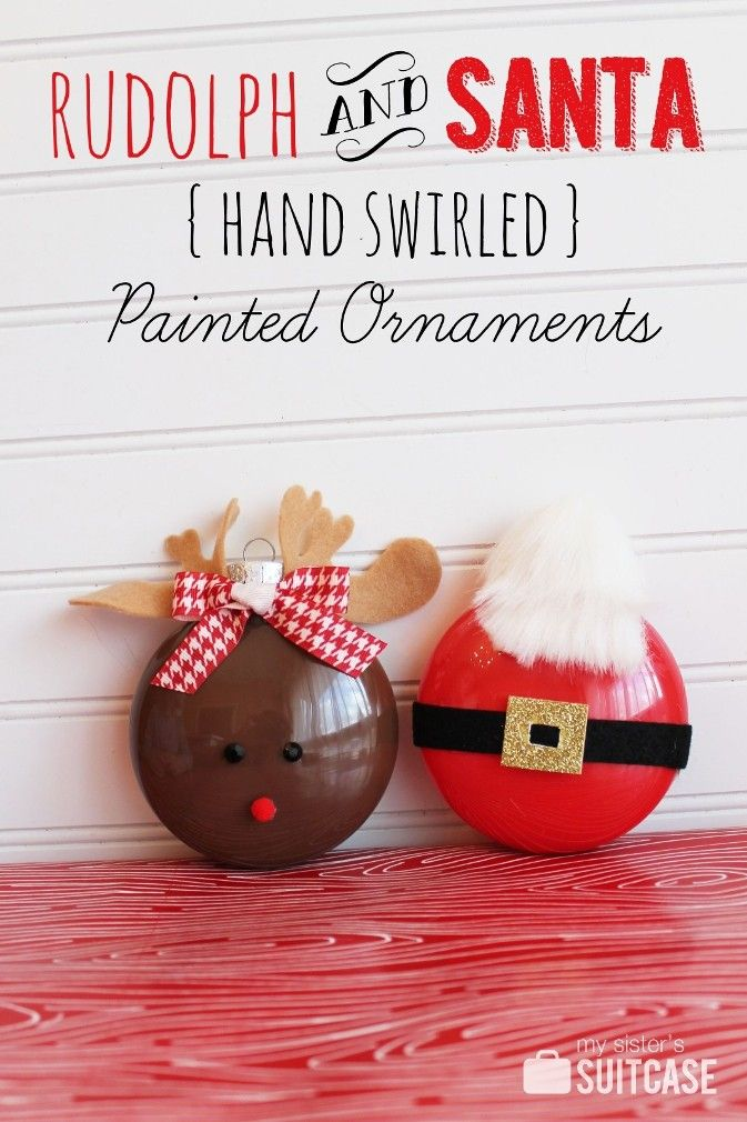 We shared this Christmas craft at Lines Across a few weeks ago… Rudolph and Santa {hand swirled} painted ornaments. My boys enjoyed making these with me, and they are perfect for kids because the paint stays contained inside the ornament!   This was so much fun to do!    We started with some of the clear plastic …