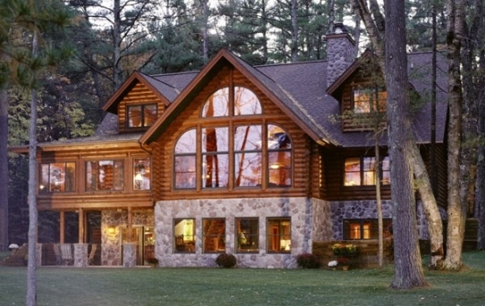 i love log cabins! i want one on a lake in the mou…