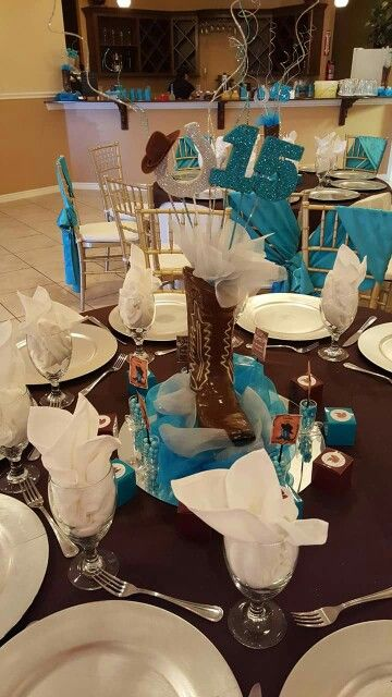 Country Centerpieces For Quinceaneras : Best ideas about western table decorations on