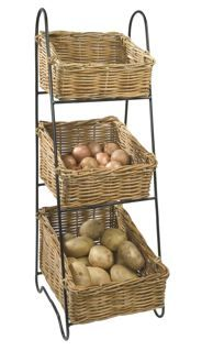 Exceptional Wicker Vegetable Basket Tower