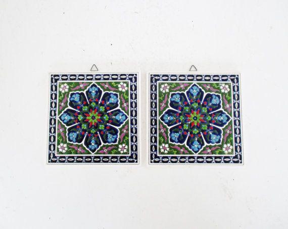Vintage Ceramic Tile Handmade by Smaltotechniki Vintage Greek Tile Mediterranean Trivet Hand Painted Hot Plate Vintage Tile Wall Hanging