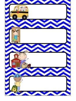 {Editable} Daily Schedule Cards - Primary Color Chevron. Type your subjects on!