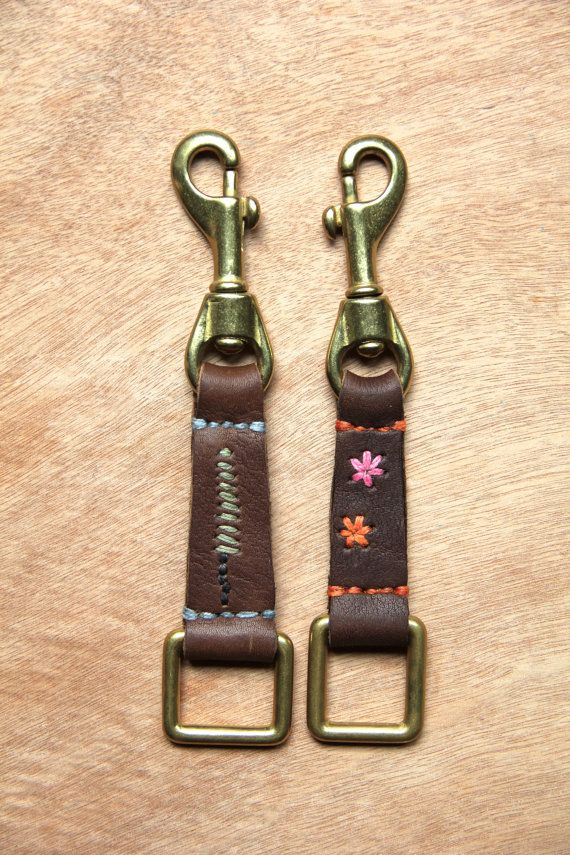 Handmade Hand Embroidered Eco Leather Keychain - Elements of Nature Snap & Ring