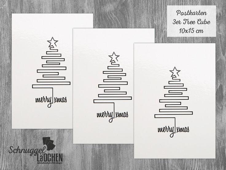 Postkarte tree cube, Weihnachten, Grußkarte Set von Schnuggellaedchen auf DaWanda.com