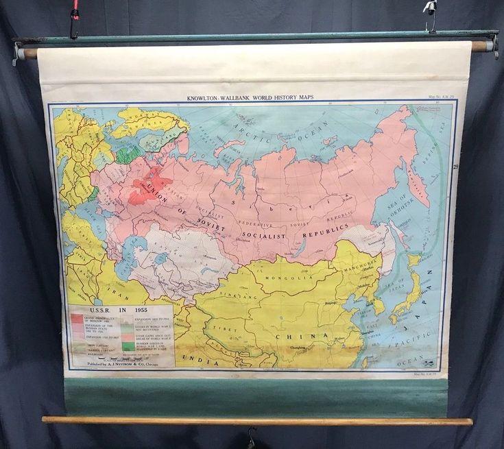 Nystrom Pull Down School Cloth Map USSR
