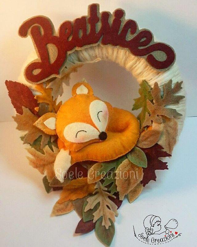 Fiocco con volpina per Beatrice ❤ #fiocchinascitapersonalizzati #maternita #nascita #creativemamy #creative #fattoamano #handmade #teramo #fiocconascita #baby #lemaddine #volpe #foglie #autunno