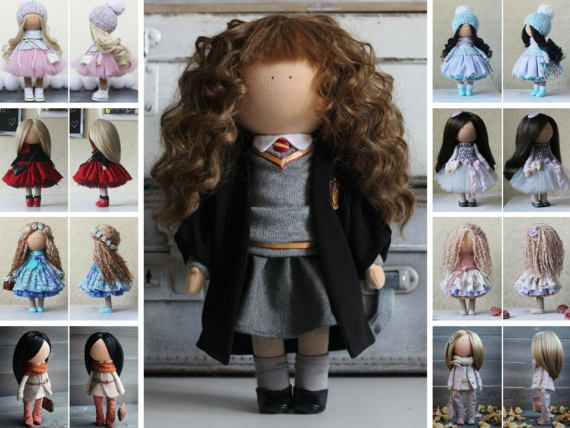 Hermione doll Movie Doll by photo Portrait doll Nursery doll Tilda doll Handmade doll Gray doll Fabric doll Rag doll Muñecas by Margarita