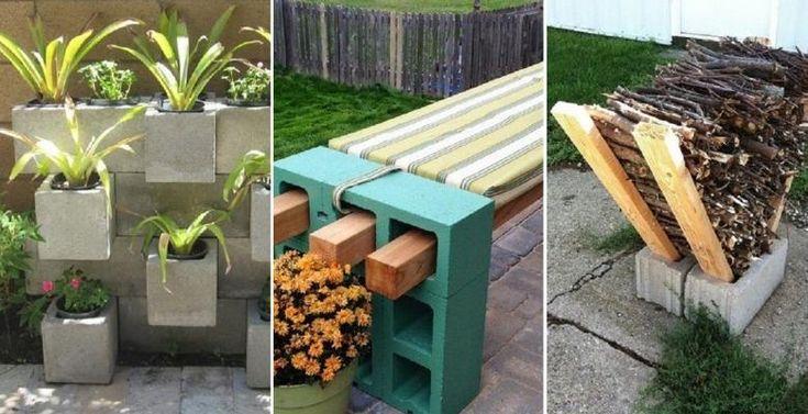 30 Façons originales de décorer et d'organiser votre jardin à peu de frais, avec des blocs de béton! - Décorations - Trucs et Bricolages