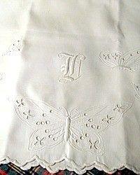 Antique Victorian Whitework Butterfly Monogrammed Pillowcases Pair-Monogram, French, whitework, shams