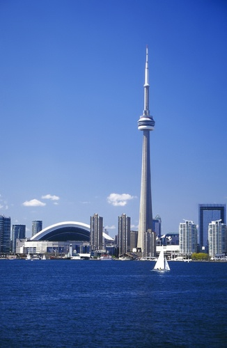 Toronto skyline with the CN Tower and Rogers Centre, as seen from Lake Ontario.