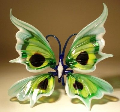 "Blown Glass ""Murano"" Art Figurine Insect White Green Yellow Black Butterfly 