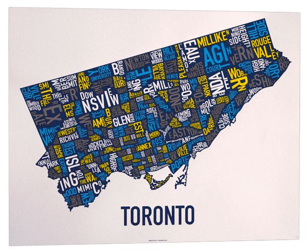 20 best toronto images on pinterest map art toronto and cards toronto neighbourhood map poster or print original artist of type city neighborhood map designs typography map art gumiabroncs Choice Image