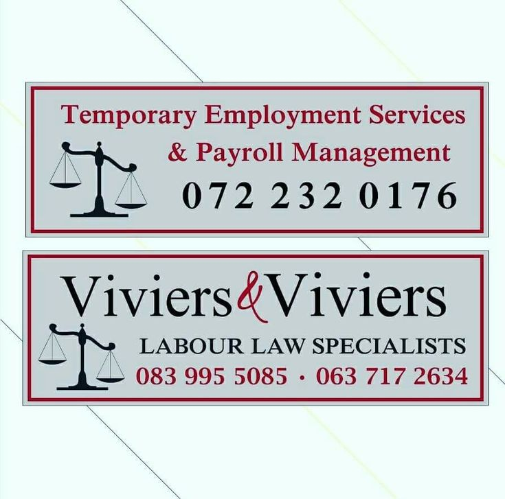 Viviers & Viviers - Labour Law Specialists 083 995 5085 063 717 2634  Temporary Employment Services & Payroll Management 072 232 0176  #labour #labourconsultants #labourlawyer #klerksdorp #potch #Potchefstroom #matlosana #payroll #labourlaw #southafrica #NorthWestProvince