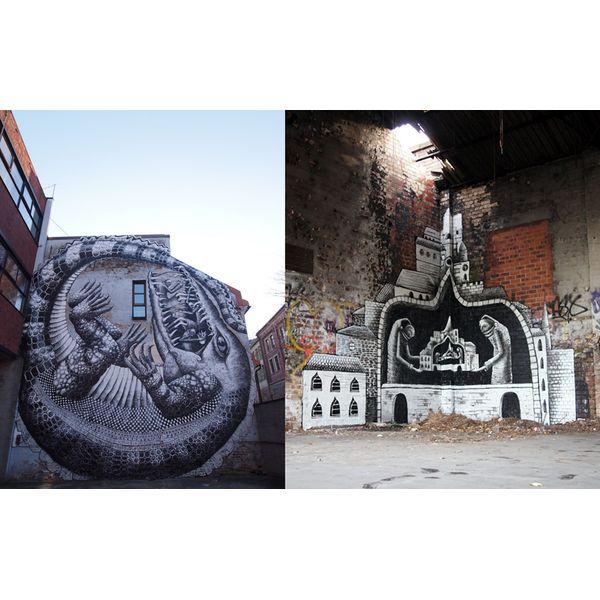 Phlegm es uno de los exponentes más pujantes de la escena del grafiti europea. Oriundo de Gales del Norte, localidad ubicada en el Reino Unido, este artista concibe su obra teniendo en cuenta el lugar que va a intervenir para su realización. Su trabajo se basa en juegos de perspectivas y el uso de la monocromía, así como también efectos visuales del estilo Droste, es decir, una imagen que incluye una versión más pequeña de sí misma, creando un bucle infinito.